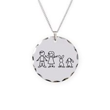 2 bunnies family Necklace