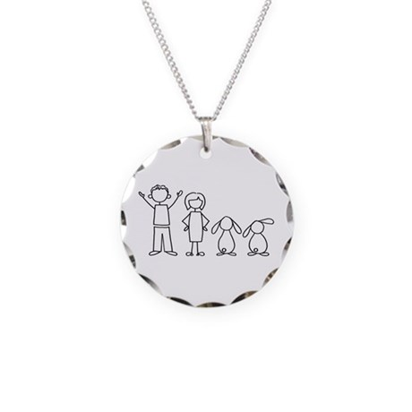 2 lop bunnies family Necklace Circle Charm