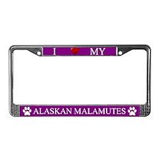 Purple I Love My Alaskan Malamutes Frame