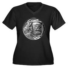 Hobo Clown Women's Plus Size V-Neck Dark T-Shirt