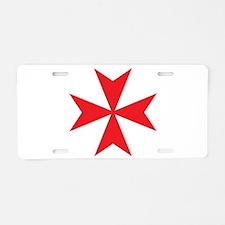 Red Maltese Cross Aluminum License Plate