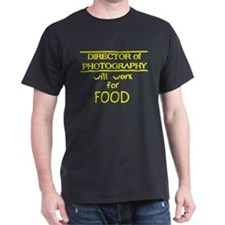 DP will work for Food Black T-Shirt