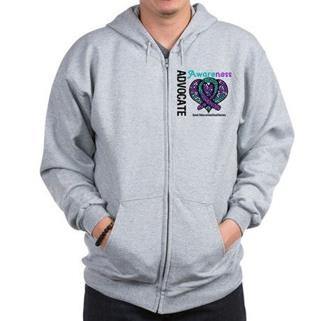 Purple & Teal Heart Zip Hoodie