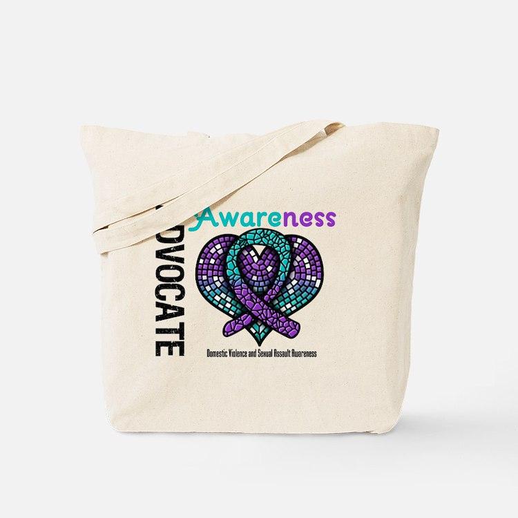Purple & Teal Heart Tote Bag