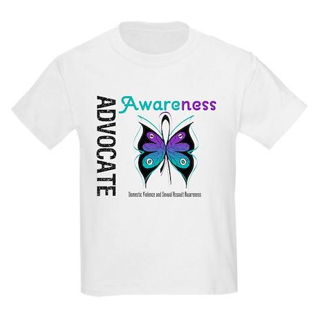 Purple & Teal Butterfly Kids Light T-Shirt