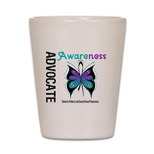 Purple & Teal Butterfly Shot Glass