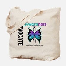 Purple & Teal Butterfly Tote Bag
