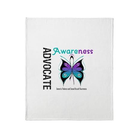Purple & Teal Butterfly Throw Blanket
