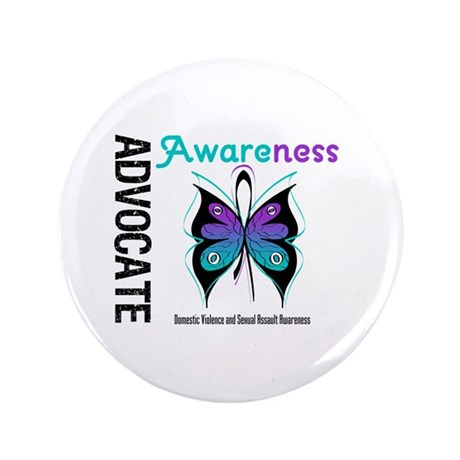 "Purple & Teal Butterfly 3.5"" Button"