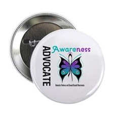 "Purple & Teal Butterfly 2.25"" Button"