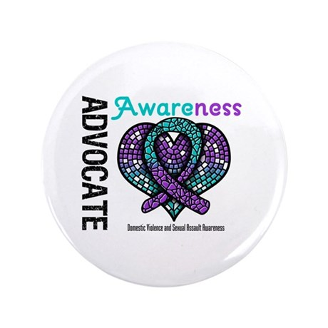 """Purple & Teal Heart 3.5"""" Button (100 pack)"""