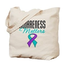 Purple & Teal Ribbon Tote Bag