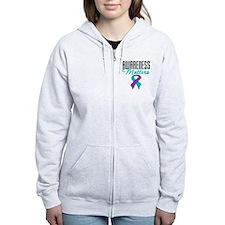 Purple & Teal Ribbon Zip Hoodie