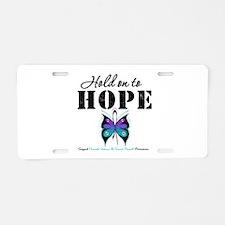 Purple & Teal Hope Aluminum License Plate
