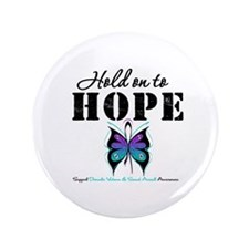 """Purple & Teal Hope 3.5"""" Button"""