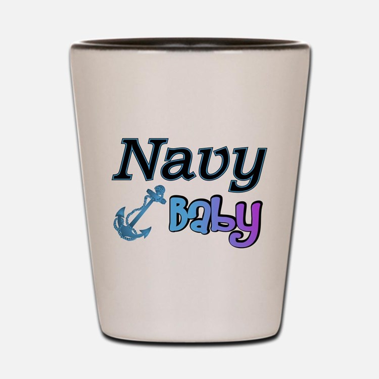 Navy Baby blue anchor Shot Glass