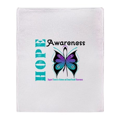 Purple & Teal Hope Deco Throw Blanket