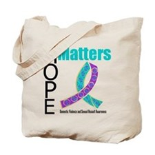 Purple & Teal Hope Matters Tote Bag