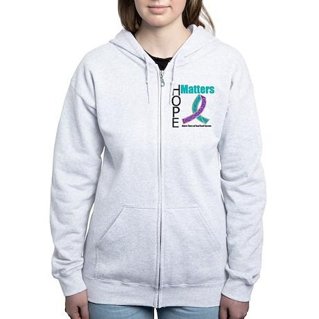 Purple & Teal Hope Matters Women's Zip Hoodie