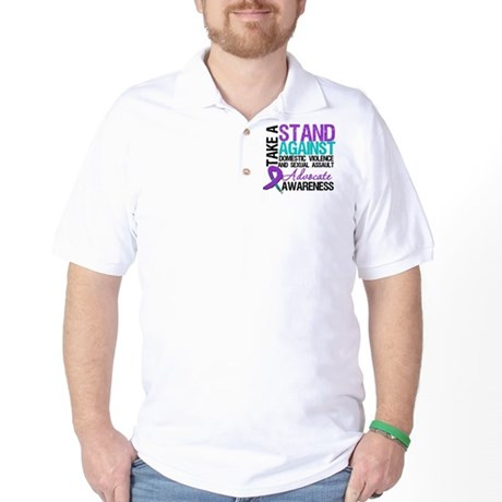 Take A Stand Teal & Purple Golf Shirt