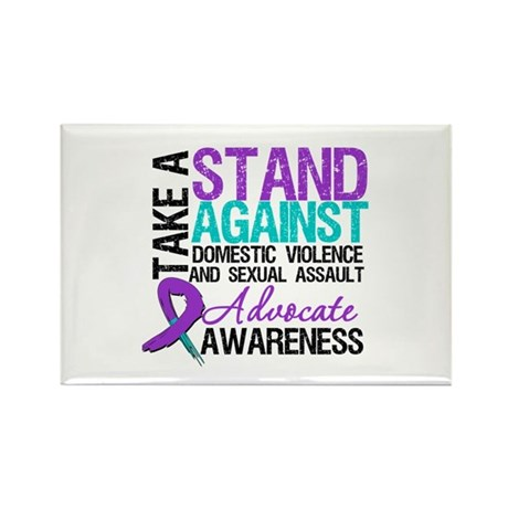 Take A Stand Teal & Purple Rectangle Magnet (100 p