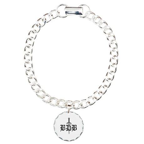 BDB Dagger Logo White Circle Charm Bracelet