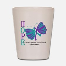 Hope Butterfly Teal&Purple Shot Glass