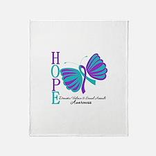 Hope Butterfly Teal&Purple Throw Blanket