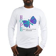 Hope Butterfly Teal&Purple Long Sleeve T-Shirt