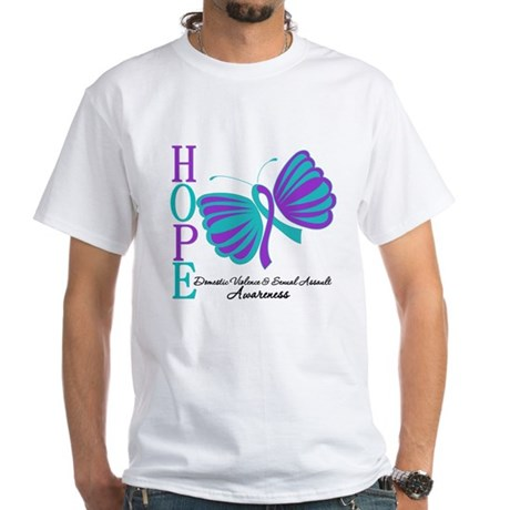 Hope Butterfly Teal&Purple White T-Shirt