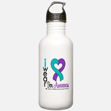 I Wear Purple & Teal Water Bottle