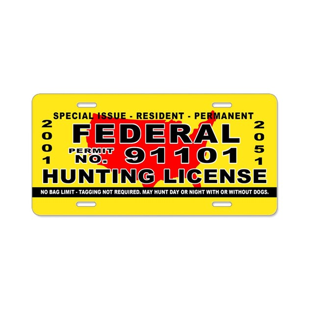 Terrorist Hunting Permit Aluminum License Plate By