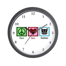 Peace Love Panthers Wall Clock