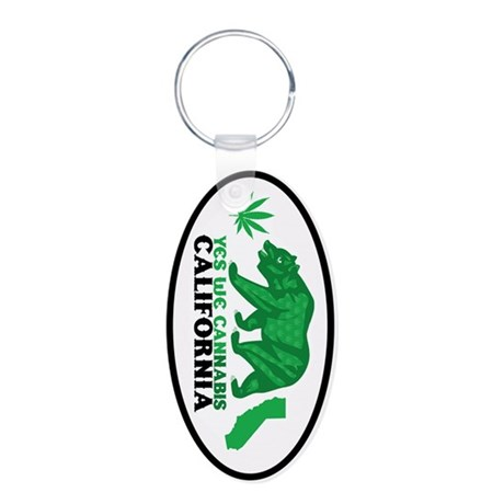Yes We Cannabis California Aluminum Oval Keychain