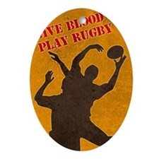 rugby lineout catch Ornament (Oval)