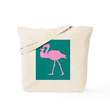 Pink on Teal Flamingo Drinking Martini Tote Bag