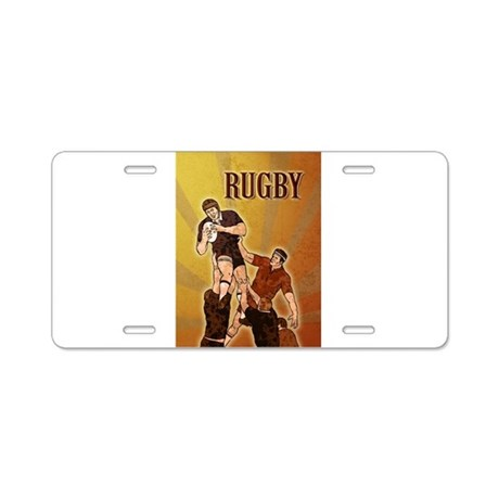 rugby player line out Aluminum License Plate