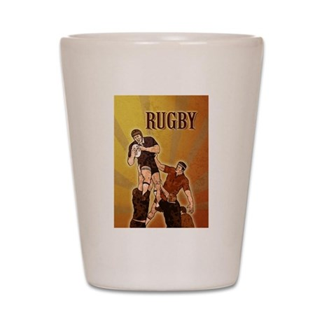 rugby player line out Shot Glass