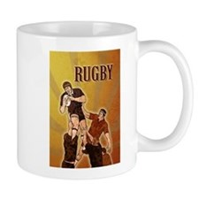 rugby player line out Small Mug