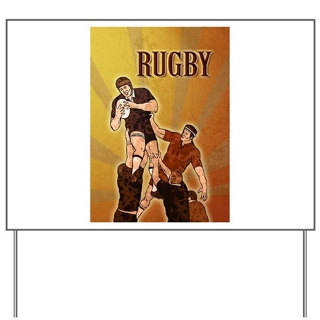 rugby player line out Yard Sign
