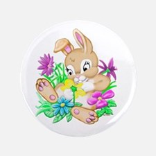 """Bunny With Flowers 3.5"""" Button (100 pack)"""