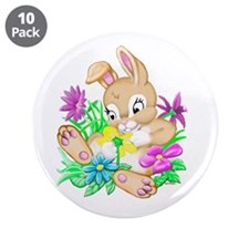 "Bunny With Flowers 3.5"" Button (10 pack)"