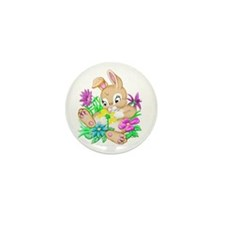 Bunny With Flowers Mini Button (100 pack)