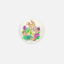 Bunny With Flowers Mini Button (10 pack)