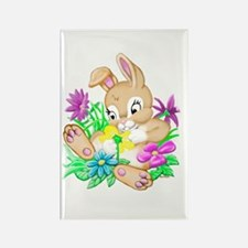 Bunny With Flowers Rectangle Magnet (100 pack)