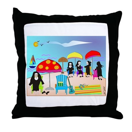 Catholic Nuns Christmas Throw Pillow