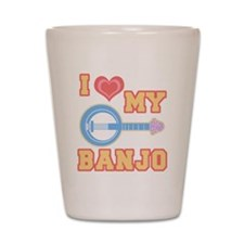 I Love My Banjo Shot Glass