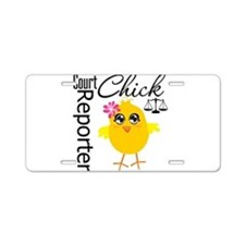 Court Reporter Chick Aluminum License Plate