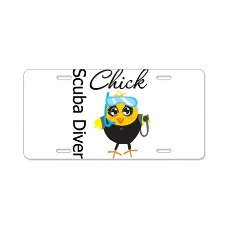 Scuba Diver Chick Aluminum License Plate