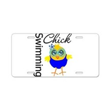 Swimming Chick v2 Aluminum License Plate